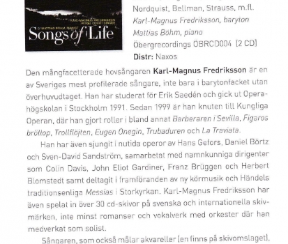 """Reviews of """"Songs of Life"""" and """"Under den linden"""""""